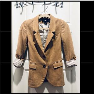 H&M size 2 tan blazer with elbow patches